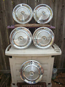 1958 Mercury Park Lane Monterey 14 Hubcaps Set Of 5 Hubcaps Cream Blue Badges