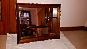 Antique Wall Hanging Wooden Shadow Box With Mirror Inset Good Condition