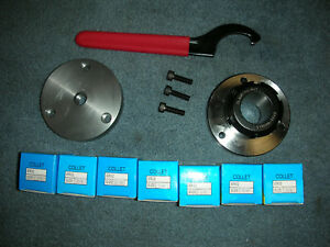 Atlas Craftsman Dunlap 109 Lathe Er32 Collet Chuck 7 Collets 1 2 20 Mount wrench