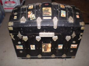 Vintage Travel Trunk With Travel Stick Ons