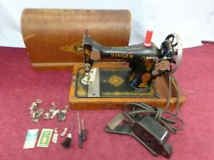 Working Vintage Singer 128k Electric Sewing Machine Accessories Case Circa 1919