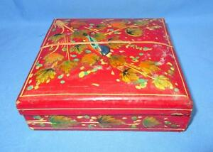 Antique Old Hand Carved Beautiful Design Wooden Lacquer Embossed Paint Box
