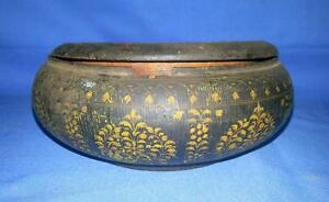 Vintage Hand Carved Wooden Black Lacquer Painted Beautiful Round Box Collectible