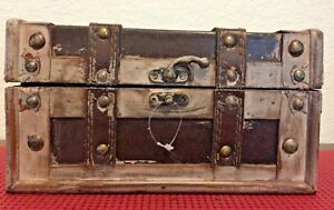 D Small New Chest With Decor Lock Wood Metal Leather 8 1 2 X 5 X 5