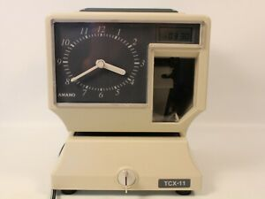 Amano Tcx 11 Employee Time Clock With Key Tested Works Great Battery Backup