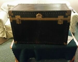 Vintage Antique Steamer Travel Trunk Suitcase Early 1900s Black Brass
