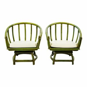 Vintage Green Rattan Swivel Club Chairs A Pair