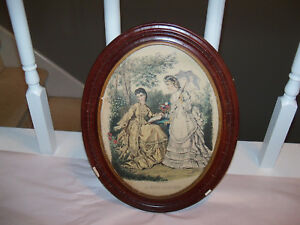 Antique Oval Wood Picture Frame W Vintage La Mode Illustree Print Gilguin Paris
