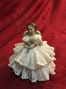 Aelteste Volkstedter Dresden Porcelain Lace Figurine Seated Lady With Fan