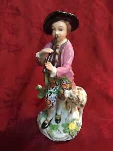 Samson French Porcelain Figurine Boy Playing Flute With Dog