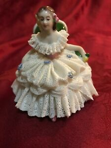 Aelteste Volkstedter Dresden Porcelain Lace Figurine Seated Lady