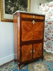 Antique French Secretary Of Lady Of Transition Period Stamped 18 Th Century
