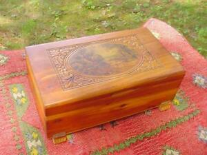 Deco Era Cedar Wood Carved Jewelry Box With Village Scene Print Great Patina