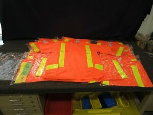 North Reflective Construction T shirt V neck Road Safety Top Orange Mesh Small S