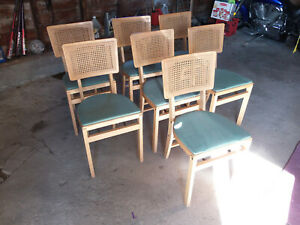 7 Stakmore Mid Century Danish Wood Folding Chairs Caned Cane Back Green