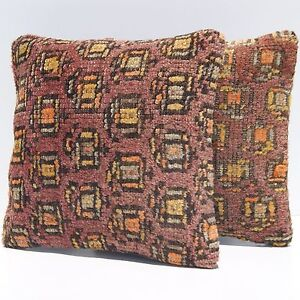 Square 12 Kilim Pillows Turkish Rug Handknotted Brown 30 Kelim Case Area Rugs