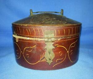 Antique Hand Carved Wooden Brown Lacquer Painted Beautiful Round Box Collectible