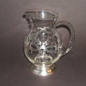 Vintage Sterling Silver Base Clear Crystal Pitcher Gray Cut Floral Etch 7 Inch