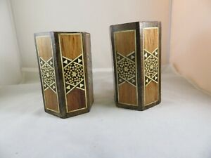 Lot Of 2 Inlaid Wood Hexagonal Box Vintage Wooden Trinket Jewelry Pencil Boxes