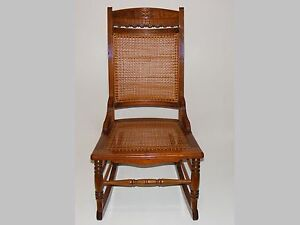 Antique Carved Wood Shaker Sewing Rocker Rocking Chair Woven Cane Seat