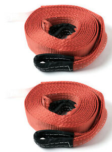 2x Red 2 x20 20000lb 9t 2x20ft Suv Truck Tow Strap Winch Rope Off road Recovery
