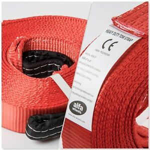 2x Red 2 x30 20000lb 9t 2x30ft Suv Truck Tow Strap Winch Rope Off road Recovery
