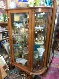 Antique Oak China Cabinet With Curved Glass Front