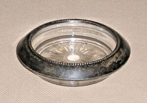 Vintage Glass Coaster Sterling Silver Rim Frank M Whiting Co Signed 722g