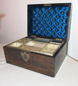 Antique 1901 Handmade Inlaid Wood Satin Tufted Lined Wooden Sewing Jewelry Box