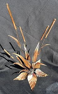 Awesome Mid Century Large 17 H Copper Art Cattails Sculpture By Gabbrielli
