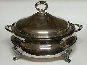 Epca Silverplate By Poole Footed Round Covered Casserole Pyrex Insert 818