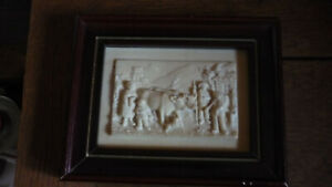 Antique Limestone Tile Plaque Framed French