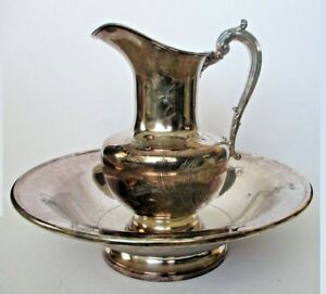 Antique Reed Barton Art Nouveau Pitcher Wash Basin Silverplate Etched Bowl F