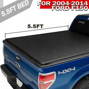 Tonneau Cover Soft Tri Fold Fit 04 14 Ford F150 Truck 5 5ft Pickup Black Bed