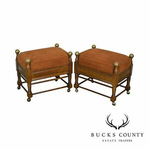 Jessup Furniture Corp Victorian Style Pair Of Turned Leg Stools