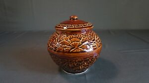 Vintage Korean Brown Glazed Condiment Jar With Lid Floral Pattern