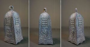 Very Rare Korean Joseon Dynasty Buddha Temple 4 Sided Bronze Bell