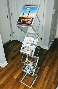 Glass Zigzag Magazine Brochure Literature Book Display Rack Portable Metal Frame