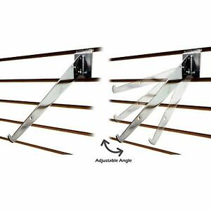 Chrome Slatwall Adjustable Shelf Brackets 8 10 12 14 D Available