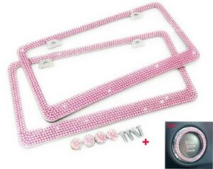 2 Pcs Bling 7 Rows Pink Crystal Metal License Plate Frame Pink Ring Free Caps