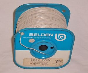 Belden 8530 22 Awg Solid Pvc Mil w 76c White Hook up wire Wrap Lead Wire 750 Ft