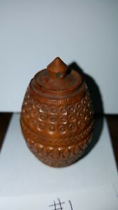 Antique Victorian Coquilla Nut Hand Carved Needle Case