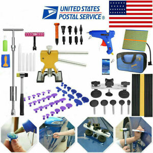 Slide Hammer T Bar Tool With Glue Pulling Tabs Paintless Dent Repair Puller Kit