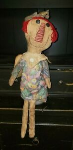 Primitive Raggedy Ann Easter Spring Stained Tatered Doll