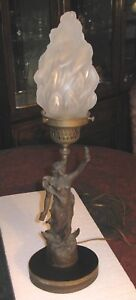 Lady Liberty French Bronze Vintage Lamp Complete Working Factory Seal Signed