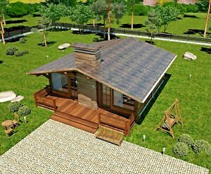 860 Sq ft Prefab Timber Frame Kit Engineered Wood House Diy Building Cabin Home