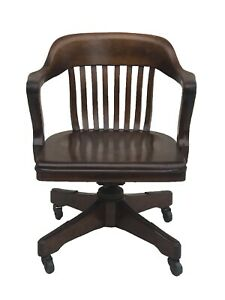 Antique Walnut Bank Of England Office Desk Swivel Arm Chair By Taylor Chair Co