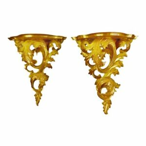 Antique Italian Rococo Carved Wood Gilt Wall Shelves A Pair