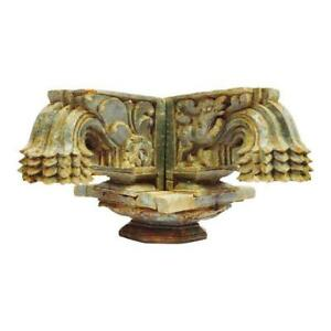 Antique Indian Rajasthan Hand Carved Decorative Wood Column Capital