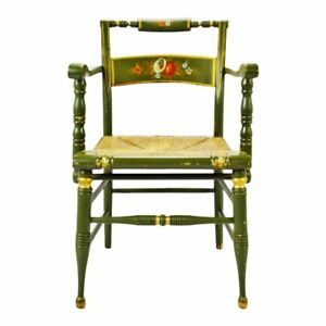 Vintage Hand Painted Rush Seat Arm Chair
